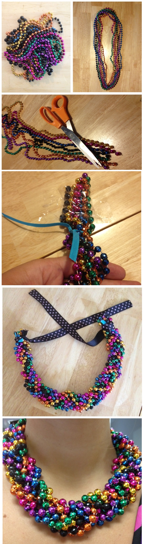 DIY Mardi Gras Bead Braided Necklace